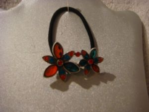 Hair band ponytail holder  flowers red and green